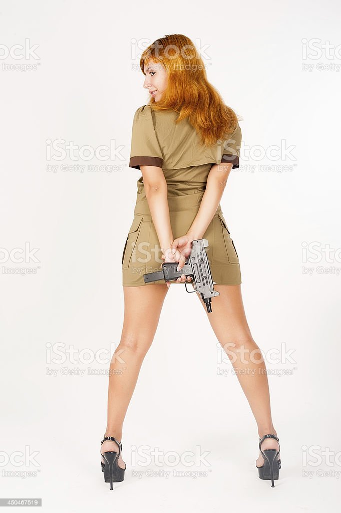 beautiful woman in military uniform stock photo