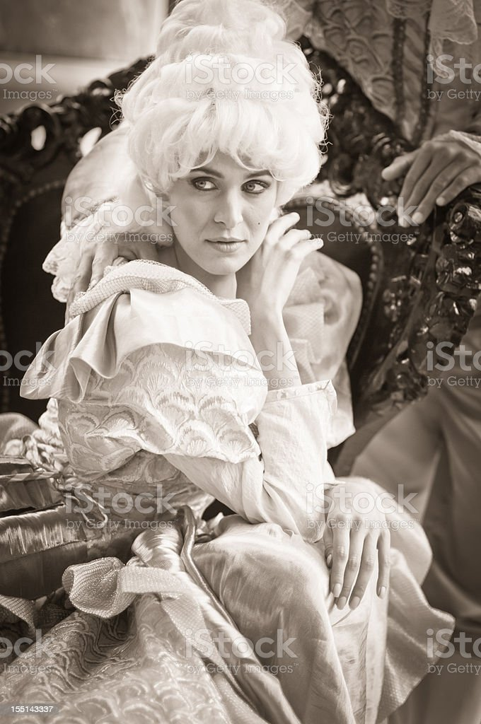 Beautiful Woman in Old French Costumes royalty-free stock photo