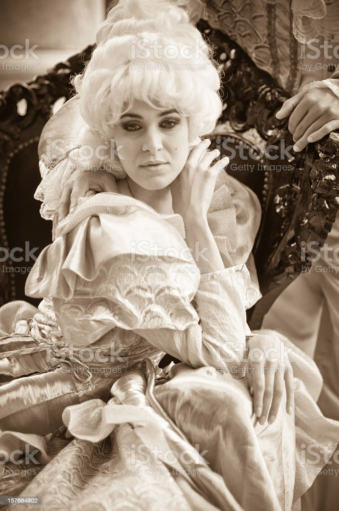 Beautiful Woman in Old French Costumes stock photo