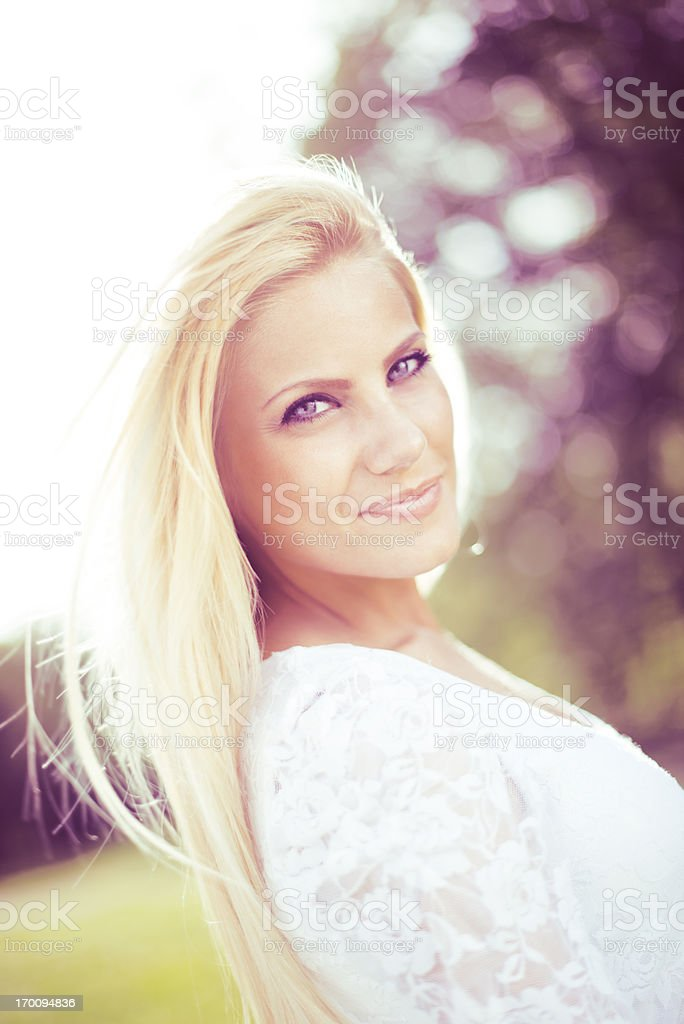 Beautiful  woman in park royalty-free stock photo