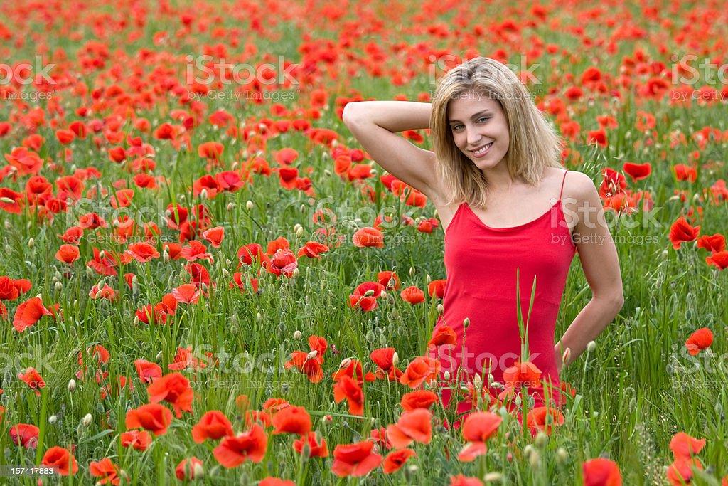 beautiful woman in poppy flowers royalty-free stock photo