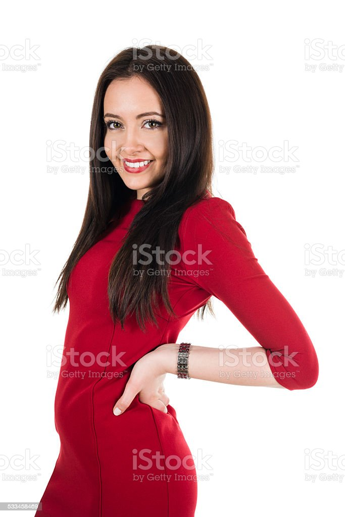 Beautiful Woman in Red Dress Isolated on White stock photo