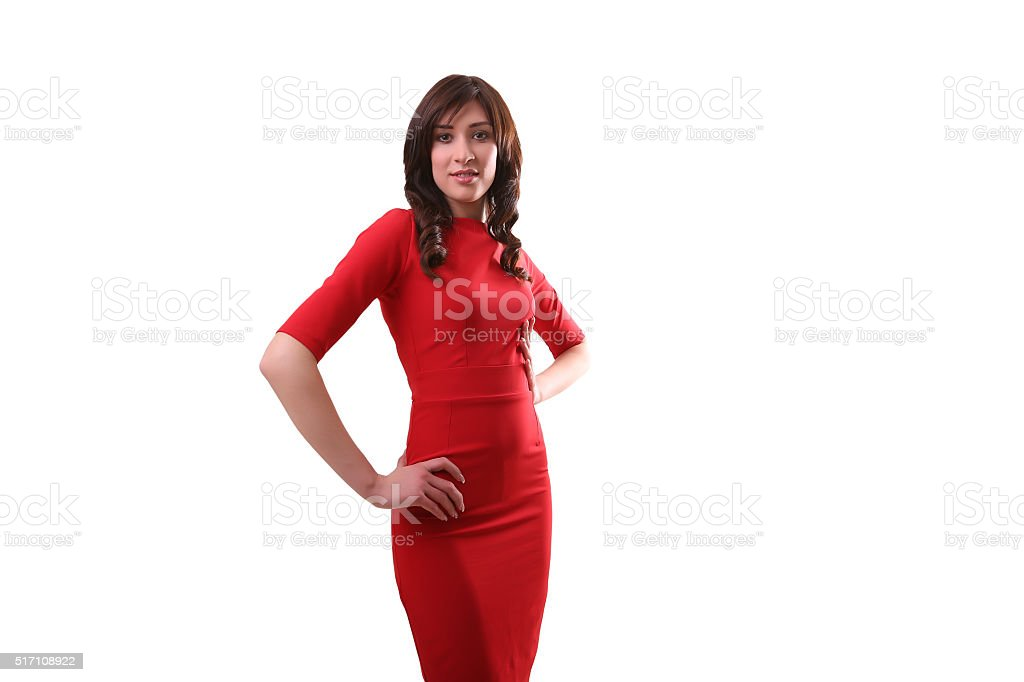 beautiful woman in red dress standing isolated on white, French royalty-free stock photo