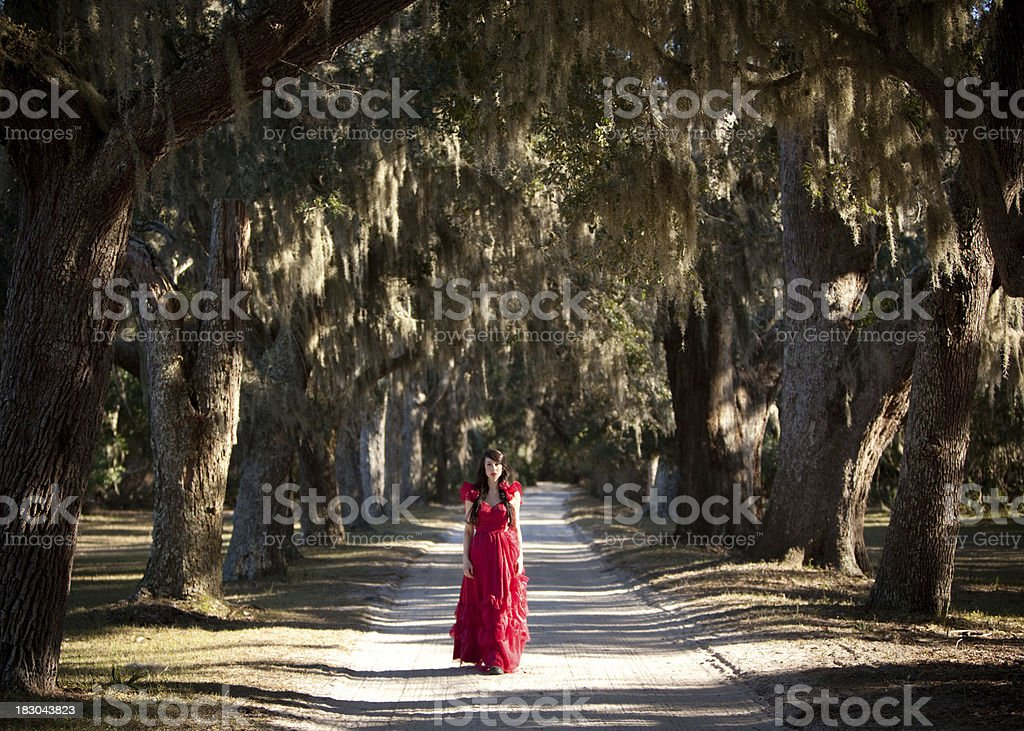 Beautiful woman in red dress walking down white sand road stock photo