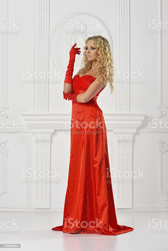beautiful woman in red long dress. royalty-free stock photo