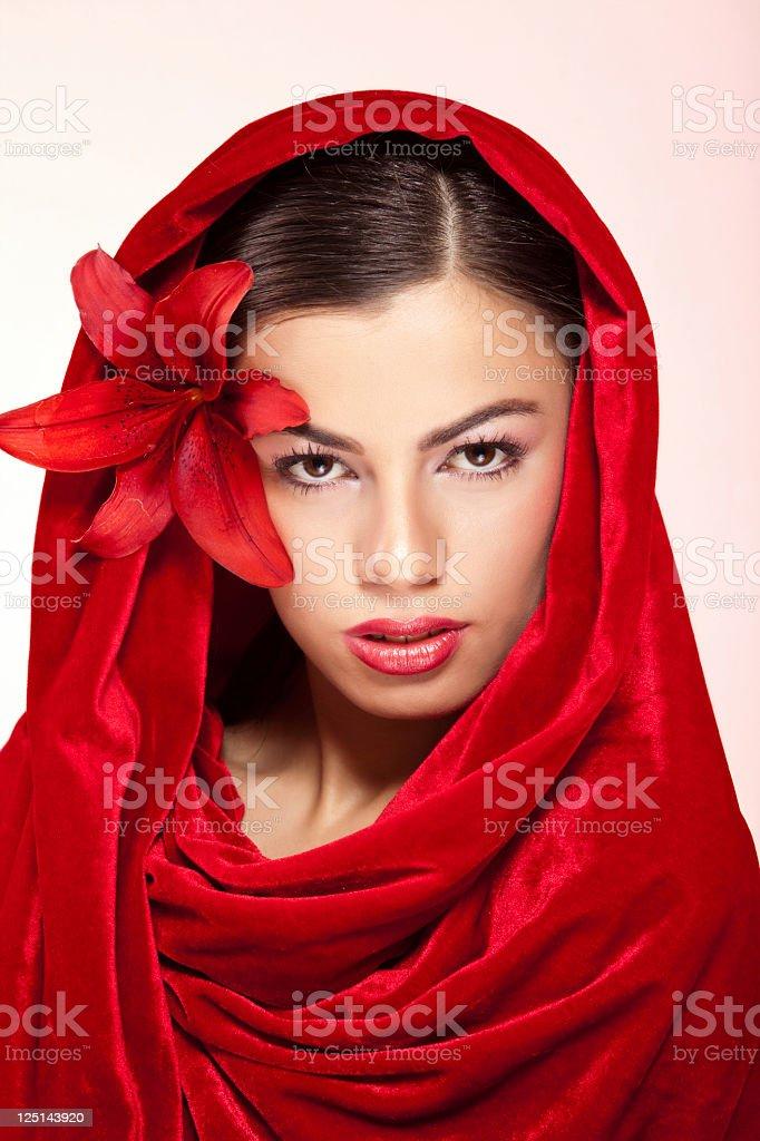 Beautiful woman in red stock photo