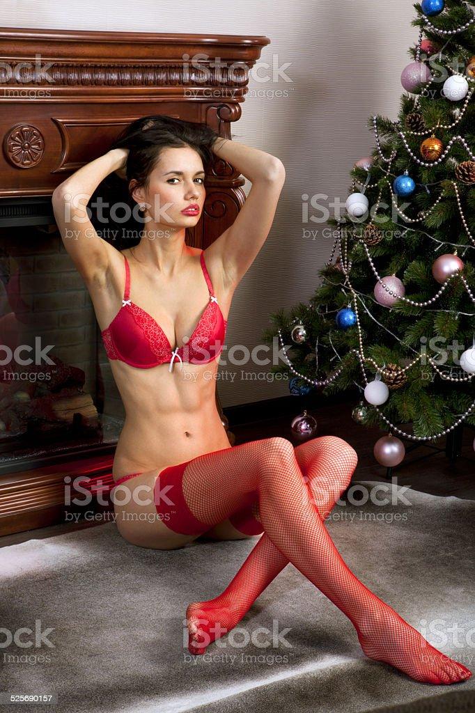 beautiful woman in red stockings stock photo
