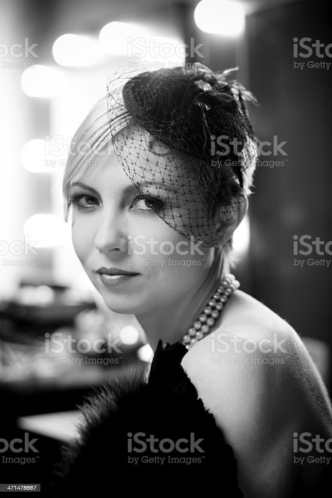 Beautiful woman in retro style. royalty-free stock photo