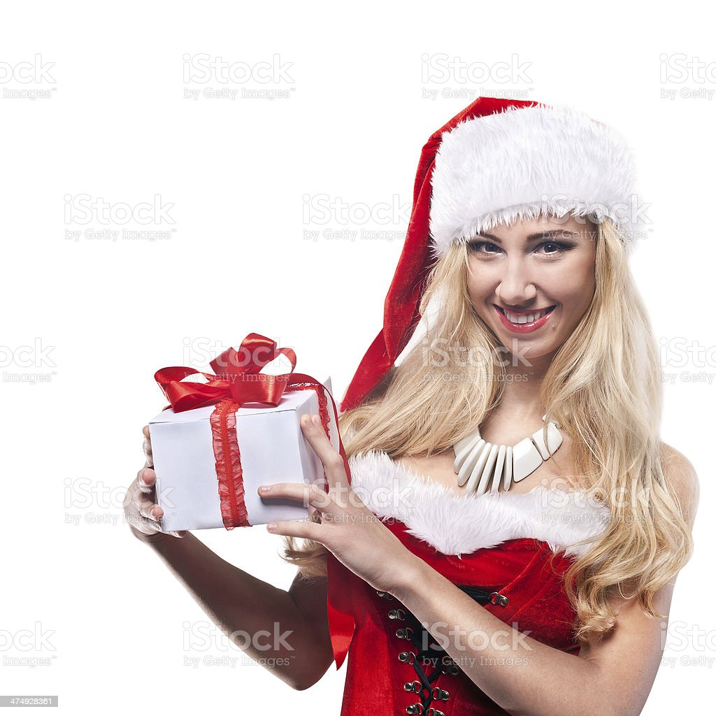 Beautiful  woman in Santa Clause costume stock photo