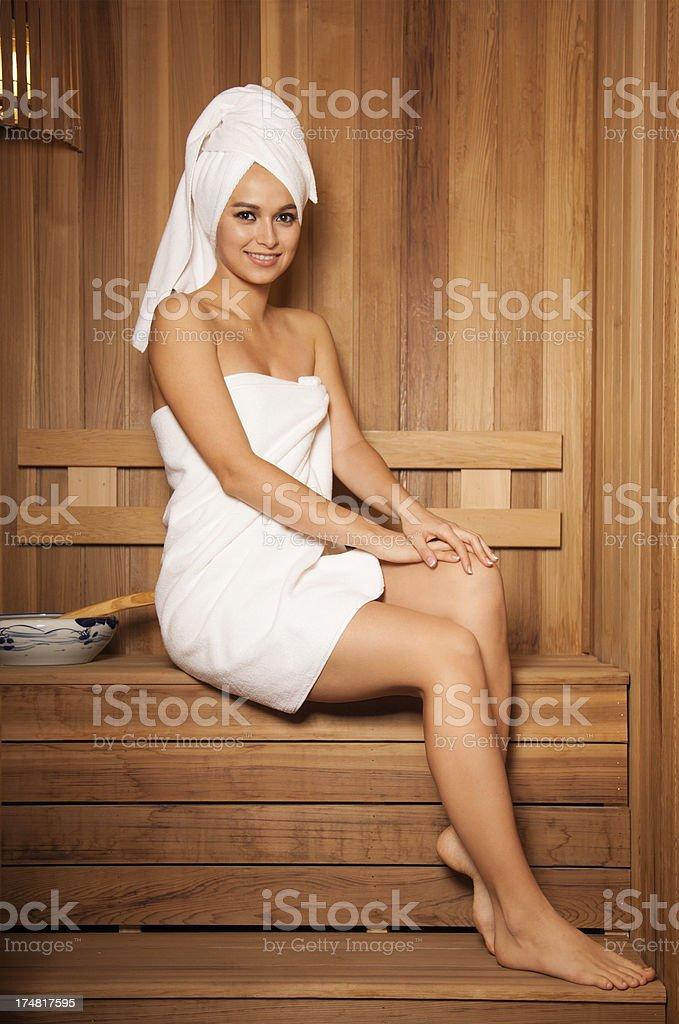 Beautiful woman in Sauna royalty-free stock photo