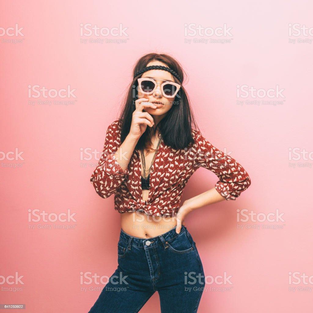 Beautiful woman in shirt stock photo