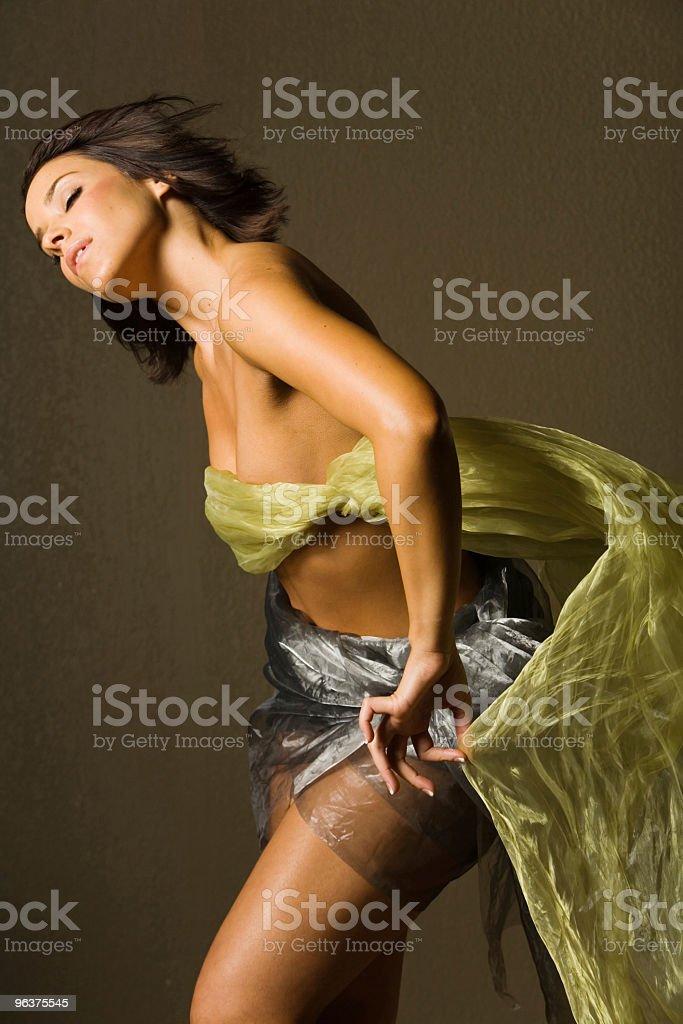 Beautiful woman in silk royalty-free stock photo