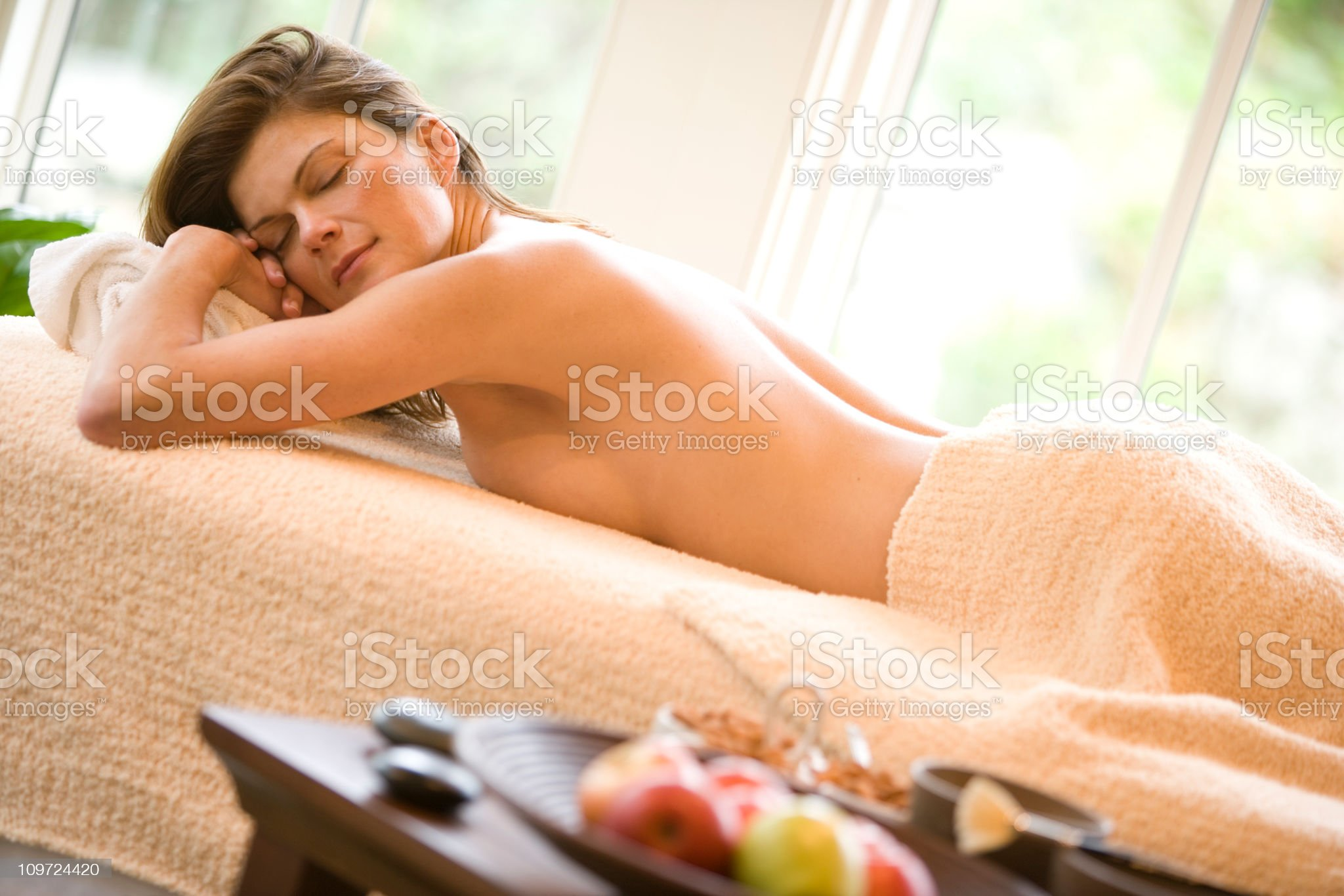 Beautiful Woman in Spa on Massage Table royalty-free stock photo