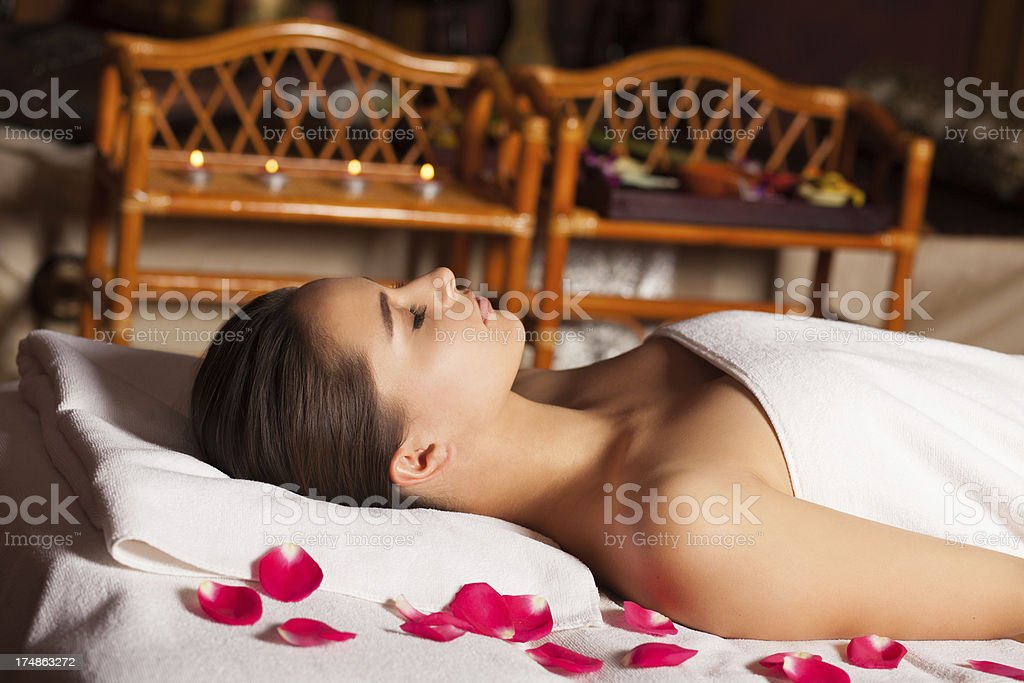 beautiful woman in spa royalty-free stock photo