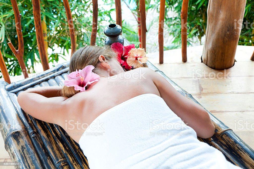 beautiful woman in spa salon stock photo