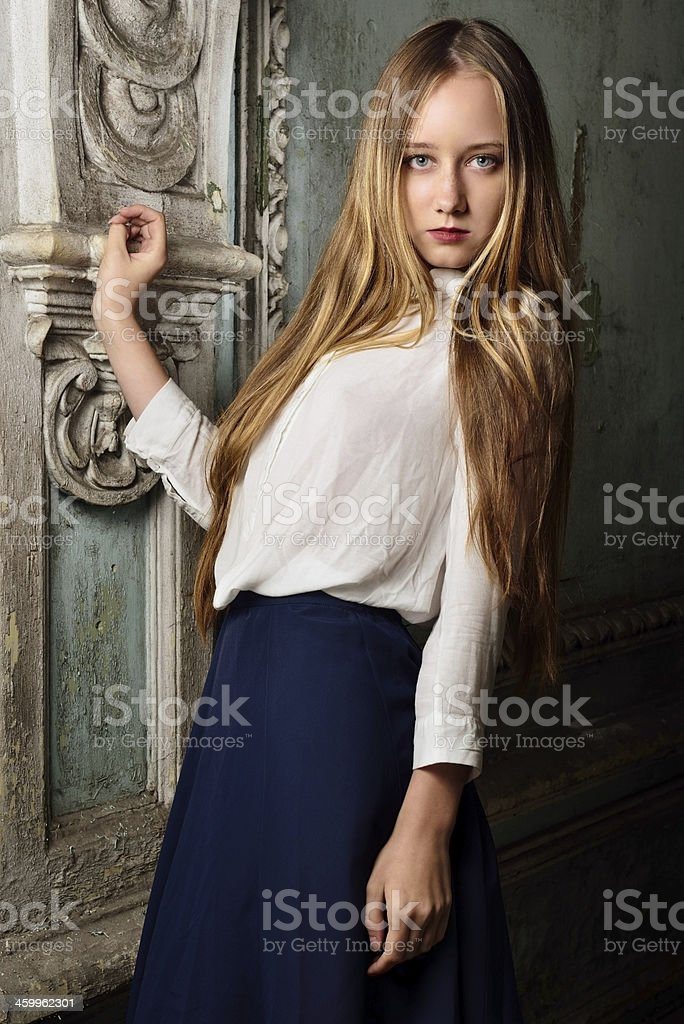 beautiful woman in  Studio with interior of old palace. stock photo