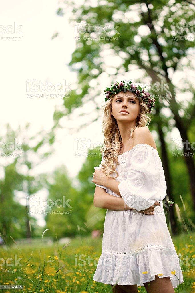 Beautiful woman in summer dress royalty-free stock photo