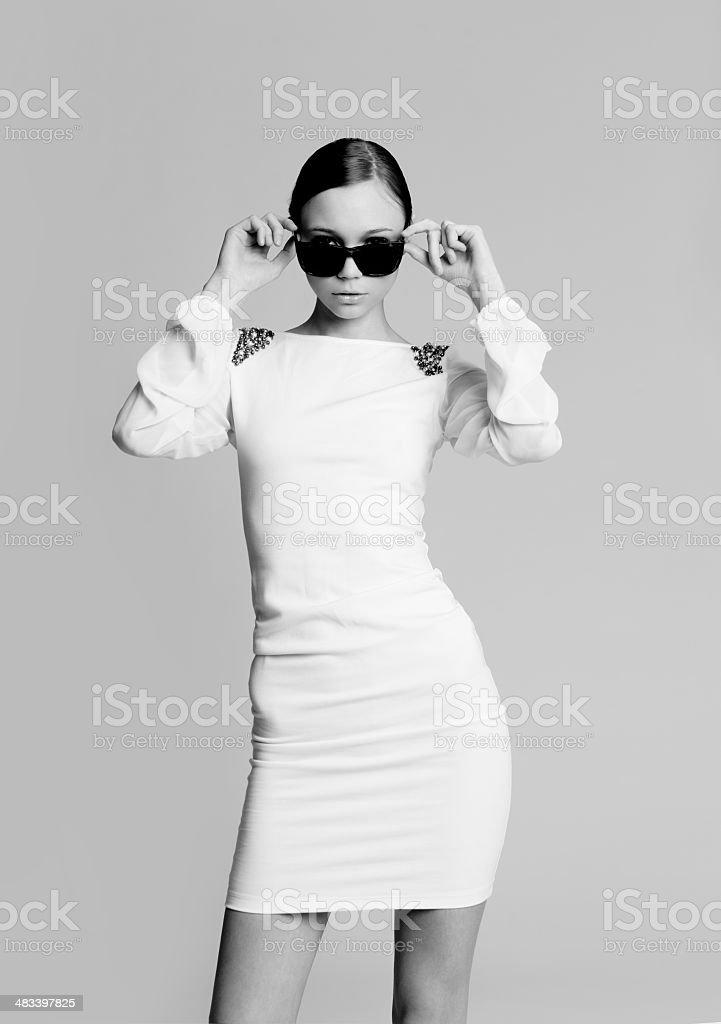 Beautiful woman in sunglasses stock photo