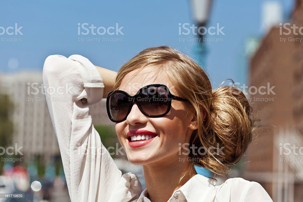 Beautiful woman in the city royalty-free stock photo