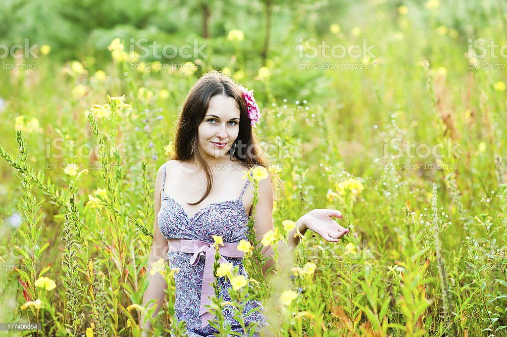 beautiful woman in the forest royalty-free stock photo