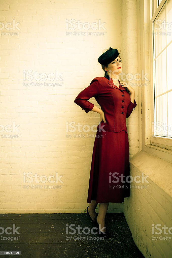 Beautiful woman in vintage forties clothing royalty-free stock photo