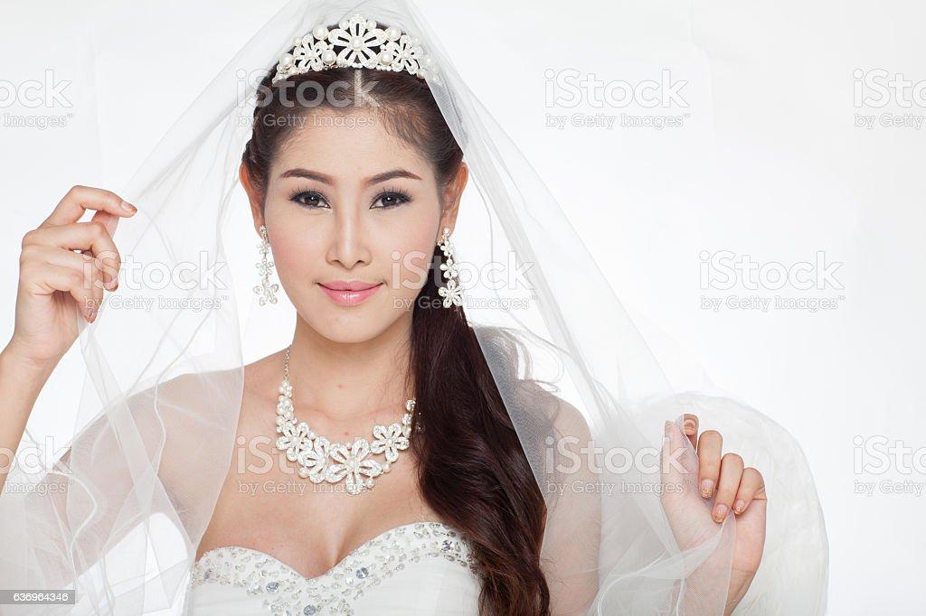 beautiful woman in wedding dress fairy scepter wing studio light stock photo