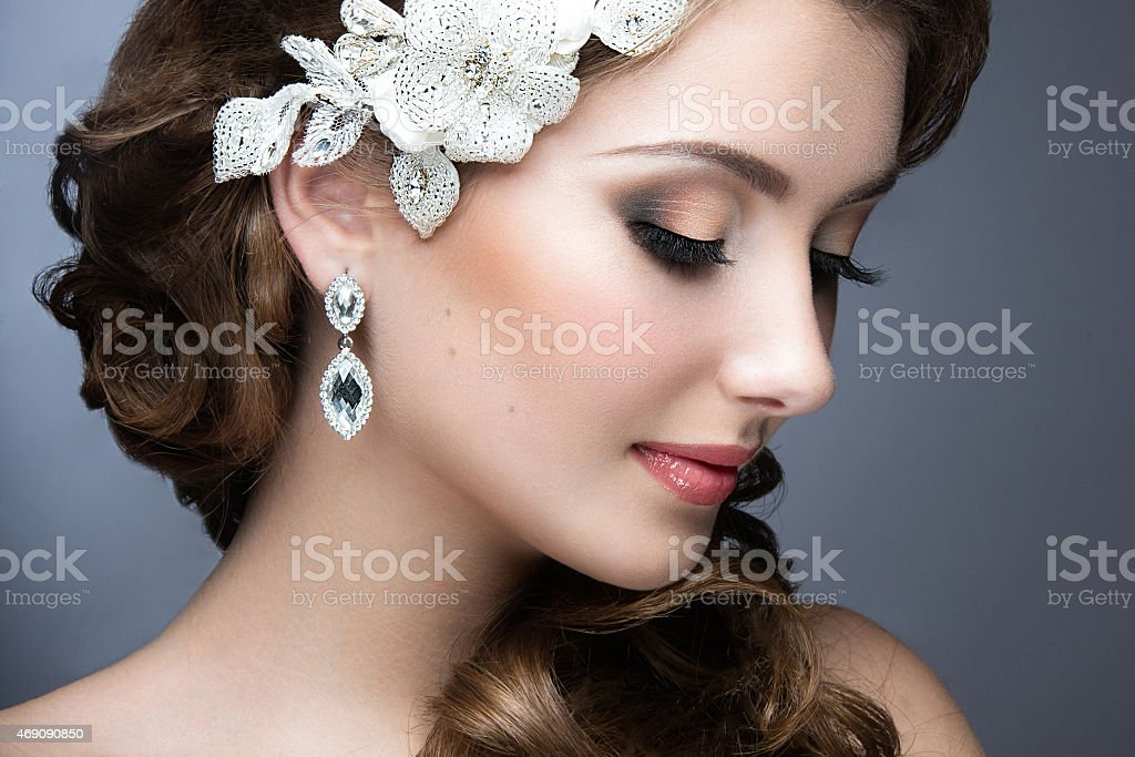 beautiful woman in wedding dress in image of bride. stock photo