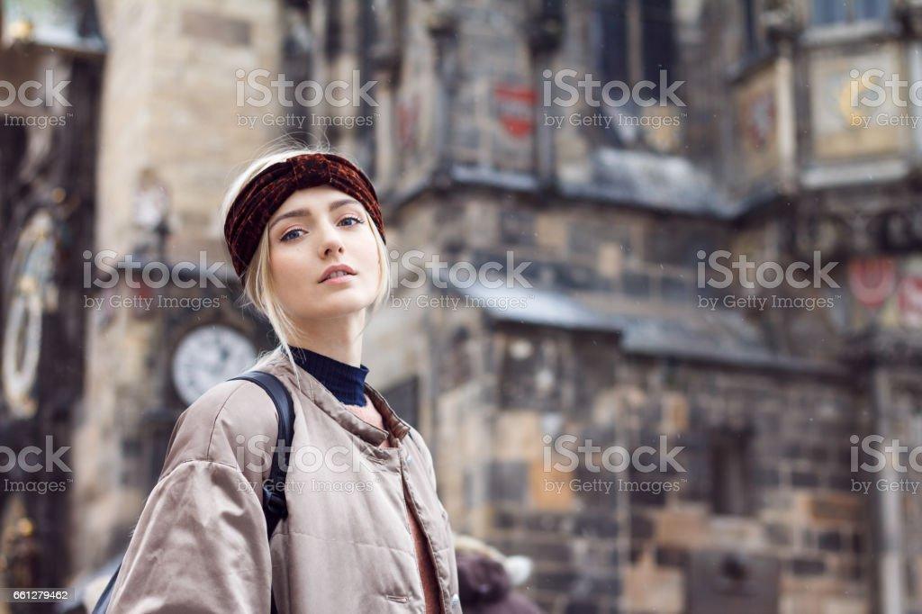 Beautiful woman in winter city stock photo
