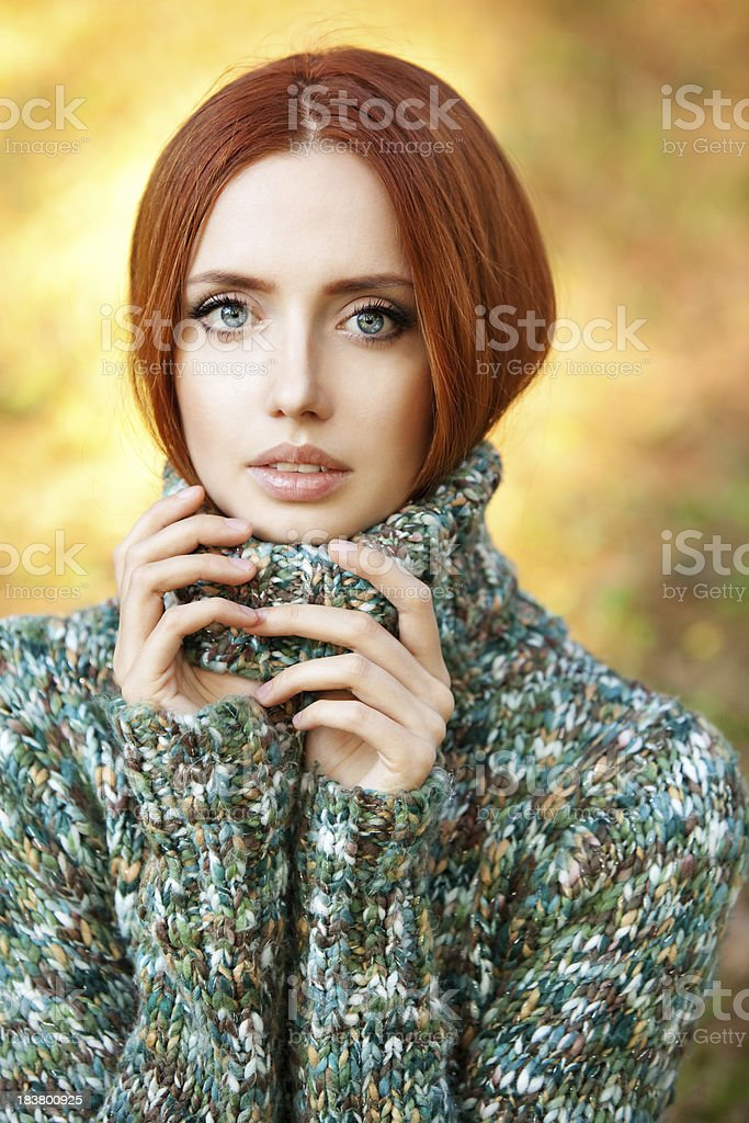 Beautiful woman in winter clothes royalty-free stock photo