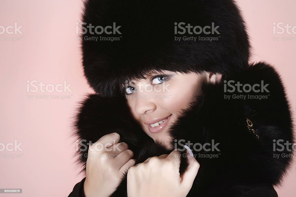 beautiful woman in winter clothes stock photo