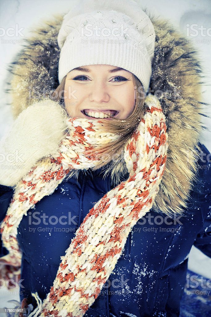 Beautiful woman in winter coat royalty-free stock photo