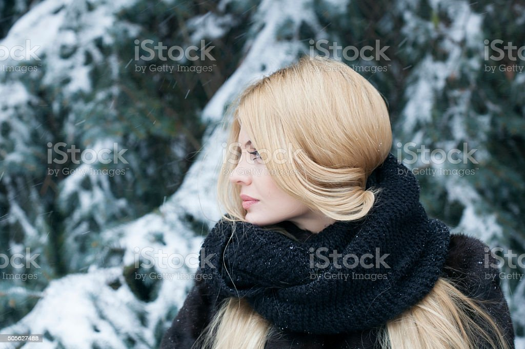 Beautiful woman in winter forest stock photo