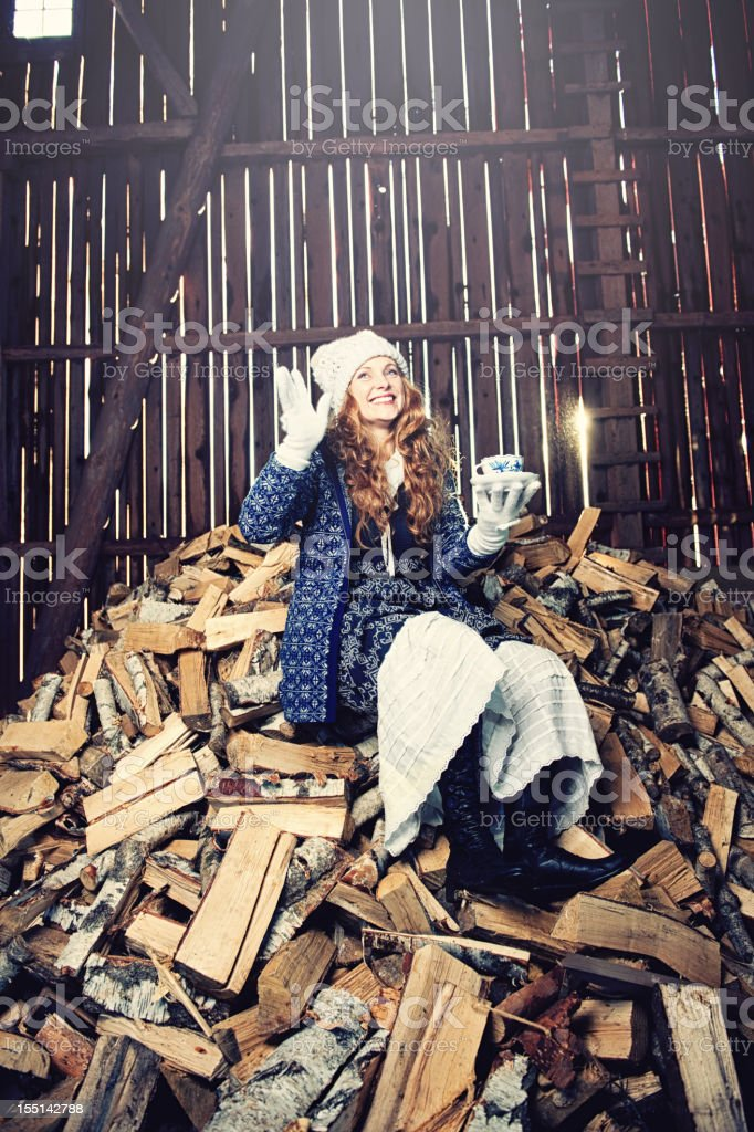 Beautiful woman inside a barn royalty-free stock photo