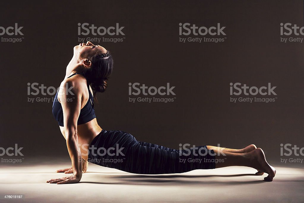 Beautiful woman is working out stock photo