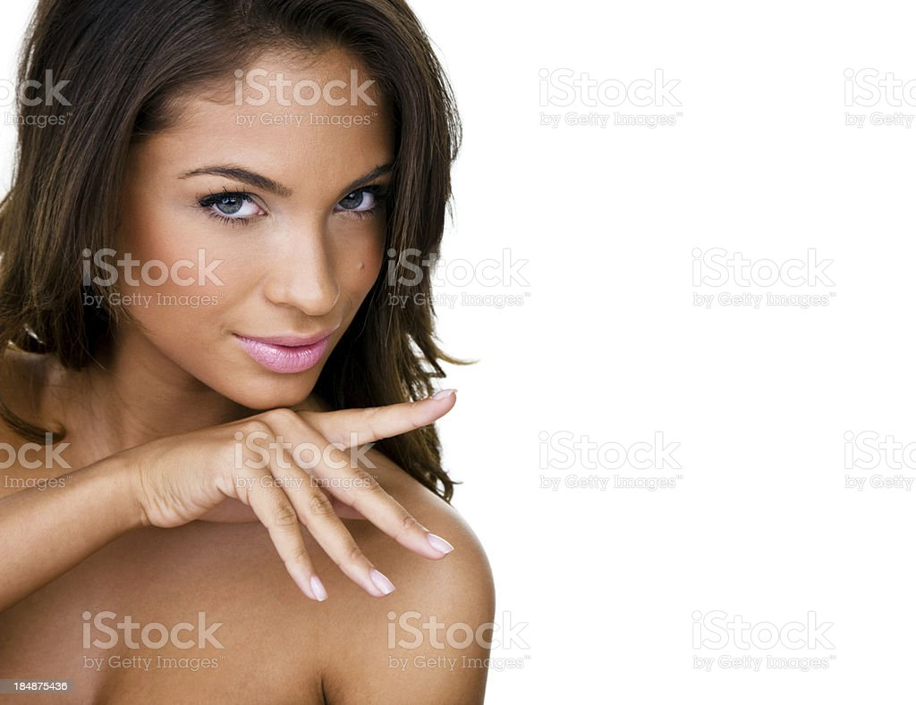 Beautiful woman isolated on white background royalty-free stock photo
