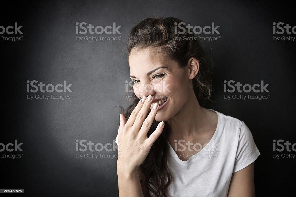 Beautiful woman laughing stock photo