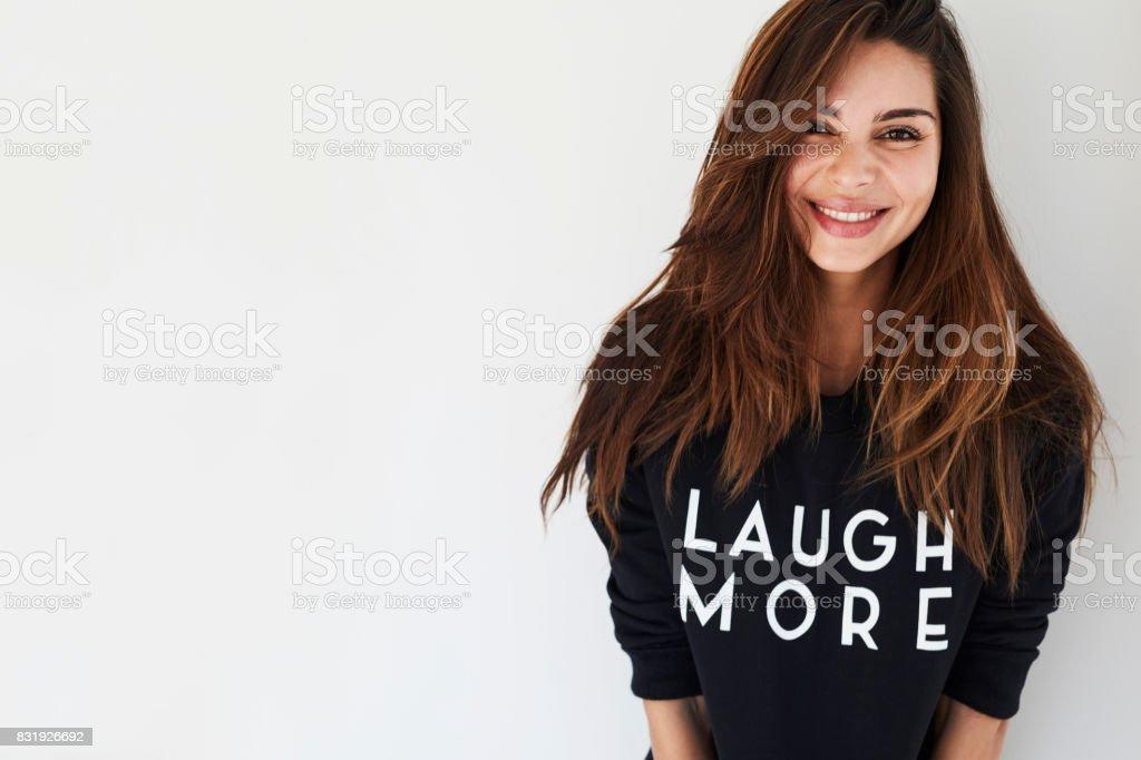 Beautiful woman laughs more stock photo