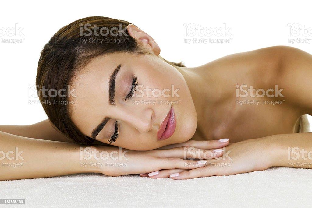 Beautiful woman laying down royalty-free stock photo