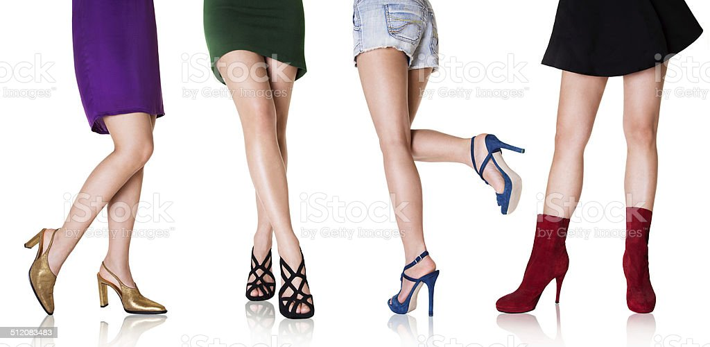 Beautiful woman legs with shoes.Fashion styles. stock photo
