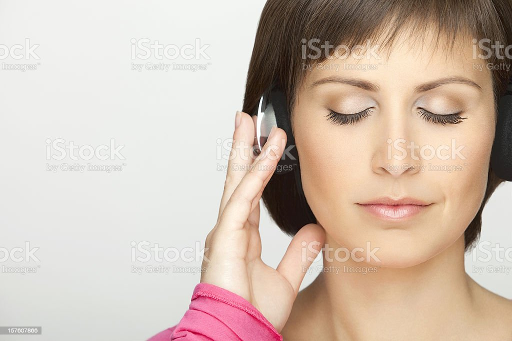 Beautiful Woman Listening Music For Relaxation royalty-free stock photo