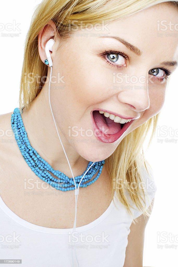 beautiful woman listening to music royalty-free stock photo