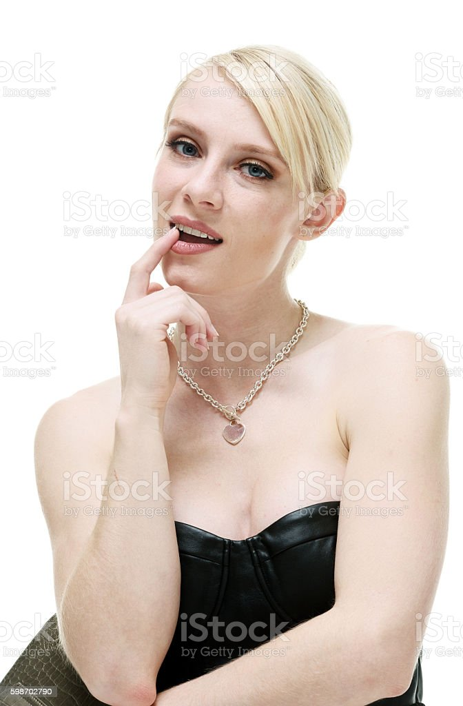 Beautiful woman looking at camera stock photo