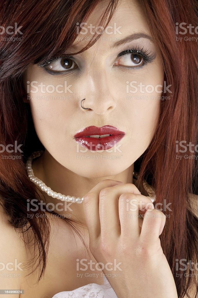 Beautiful woman looking up and away royalty-free stock photo