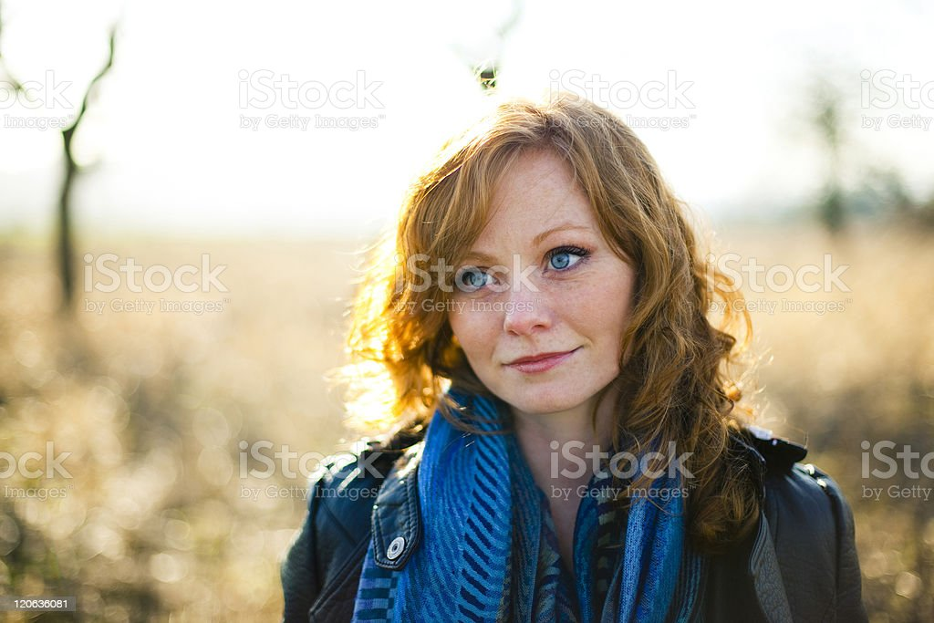 Beautiful woman lost in thought royalty-free stock photo