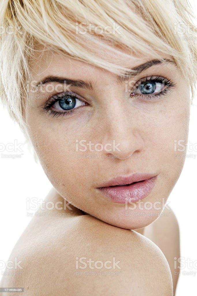 Beautiful woman min editing and makeup royalty-free stock photo