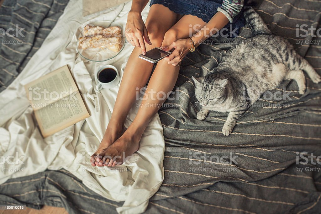 Beautiful woman model with coffee, pastries, home phone stock photo