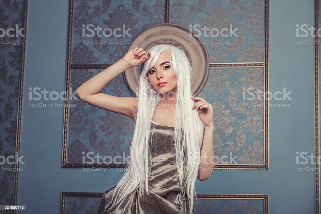 Beautiful woman model with long platinum white hair stock photo