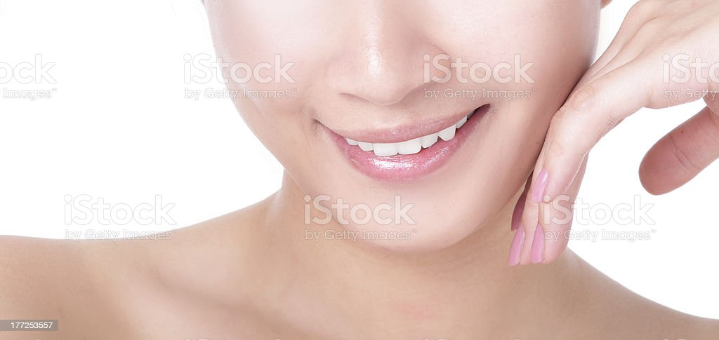 beautiful woman mouth and lips with charming smile royalty-free stock photo