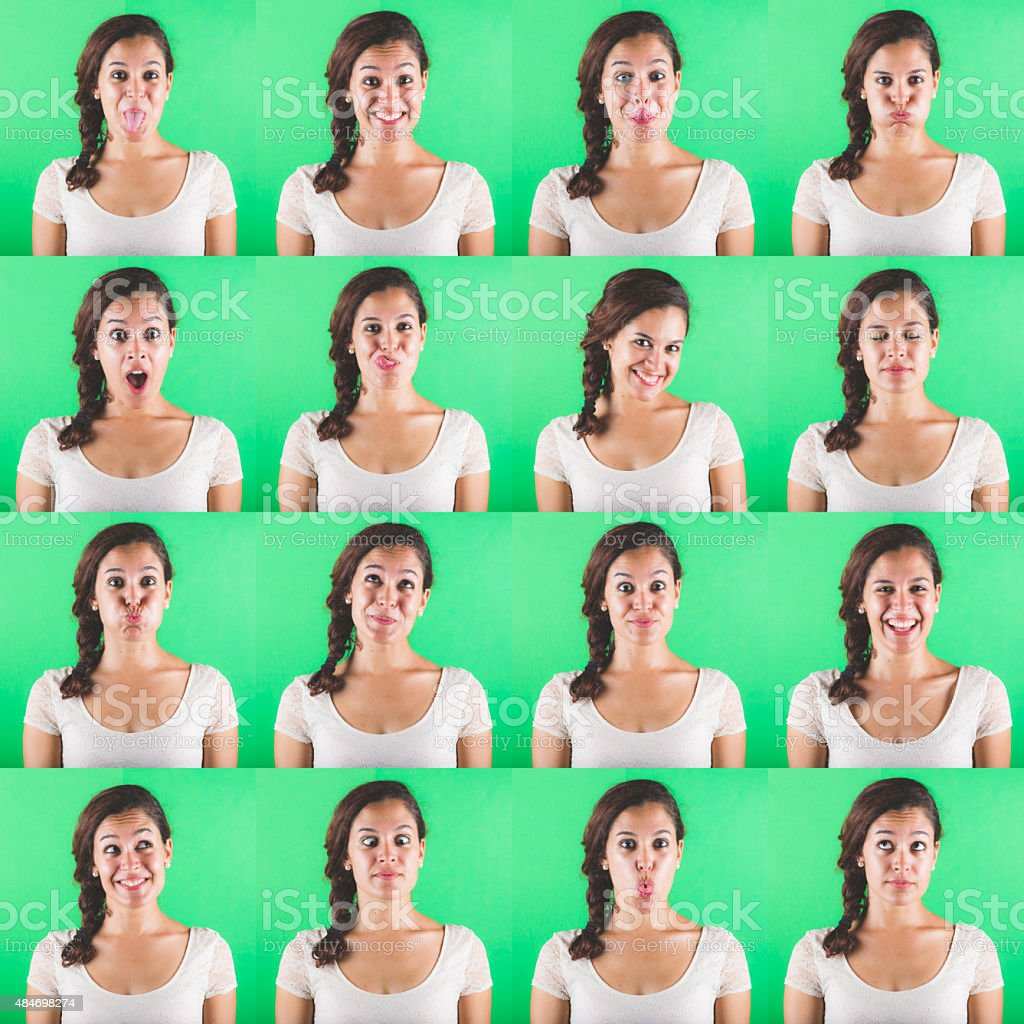 Beautiful woman multiple portraits on green background stock photo