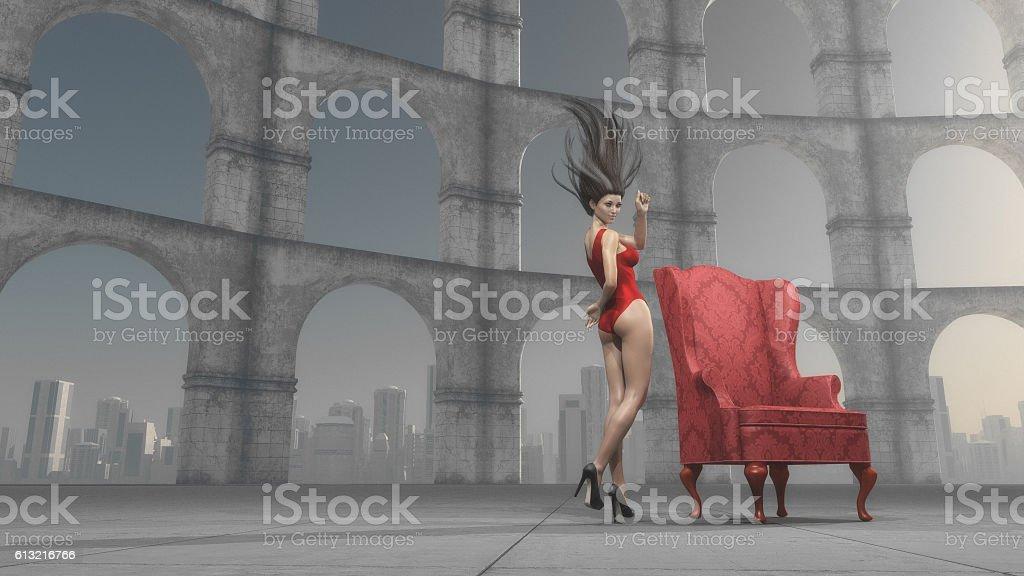 Beautiful woman near antique columns stock photo